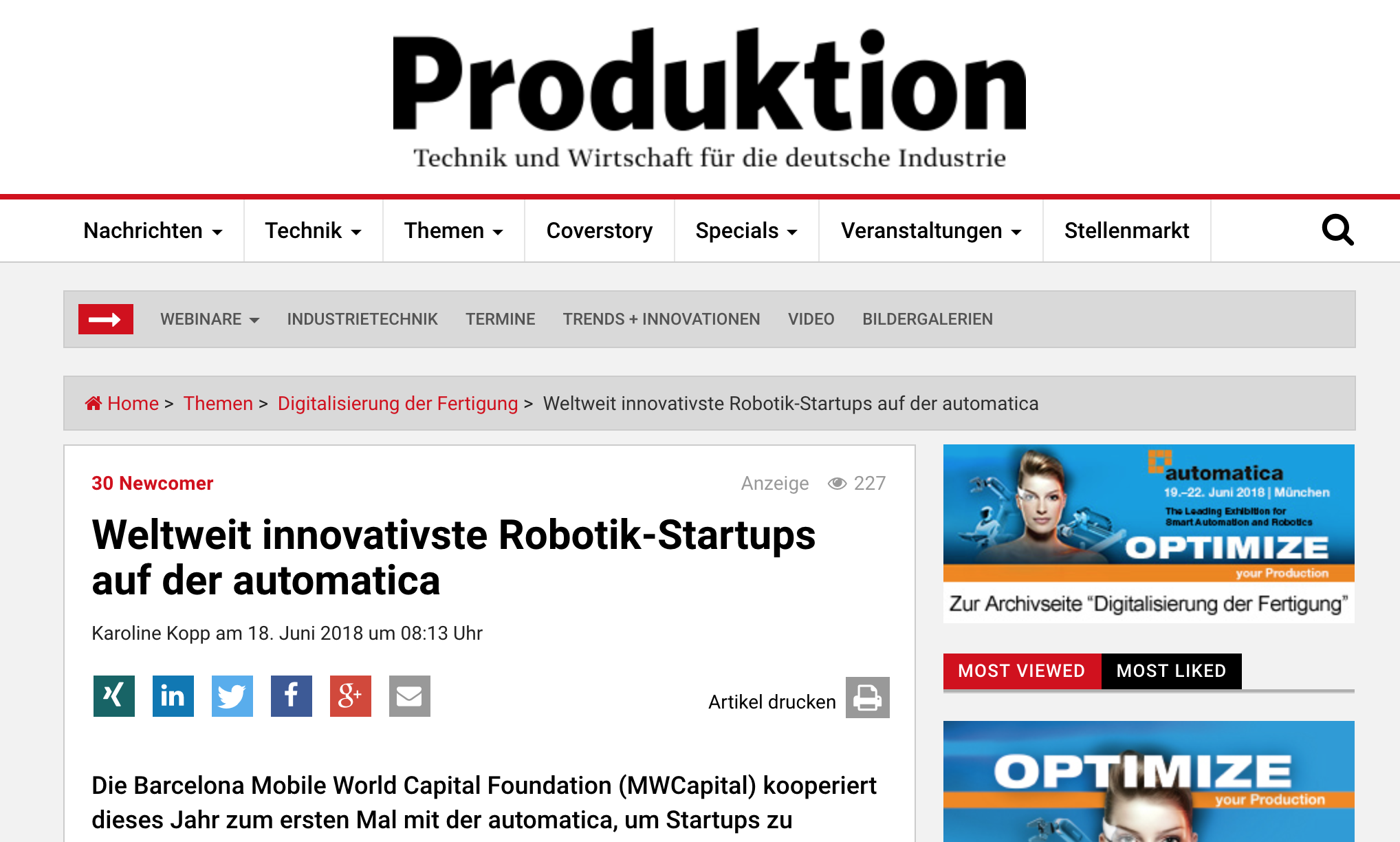 Automatica weltweit innovativste startups gerotor